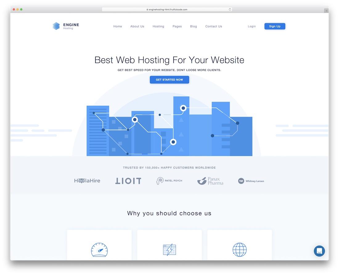 engine hosting bootstrap business website template