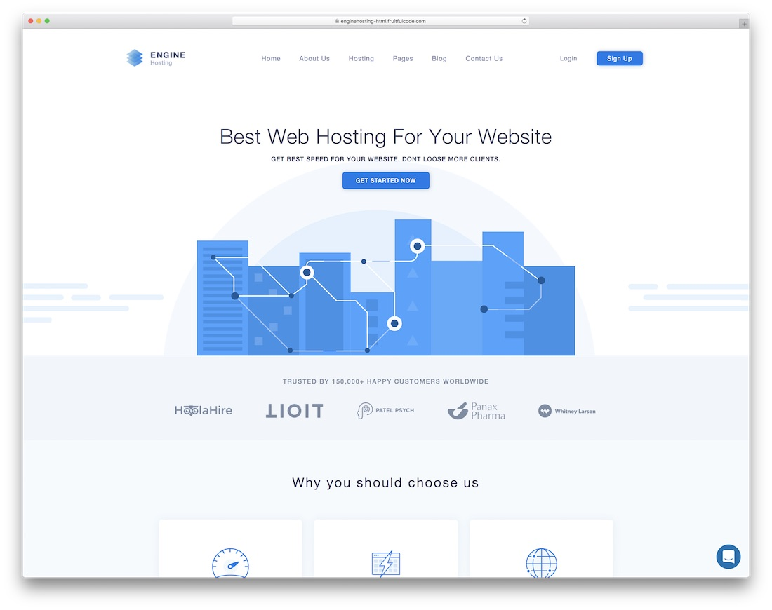 engine hosting simple bootstrap template