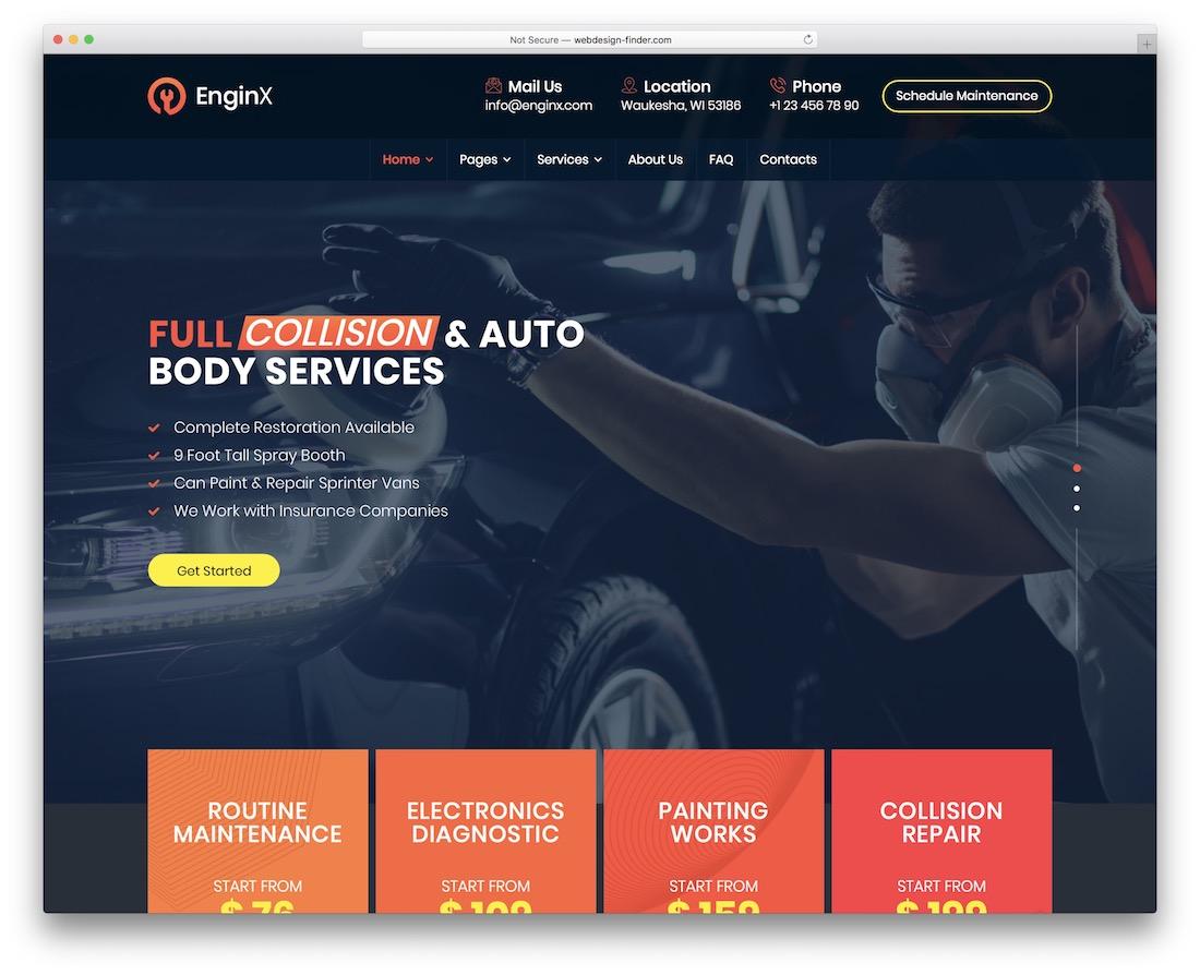 enginx car wash wordpress theme