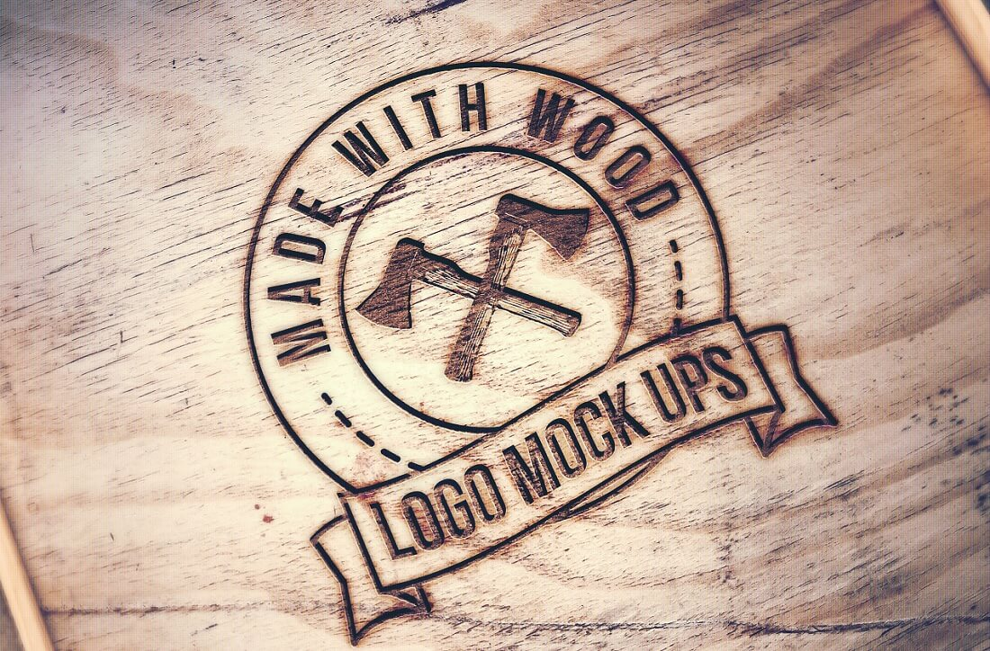 engraved wood mockup logo