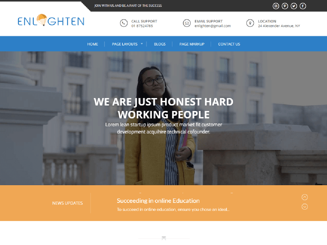 Enlighten WordPress Education Theme