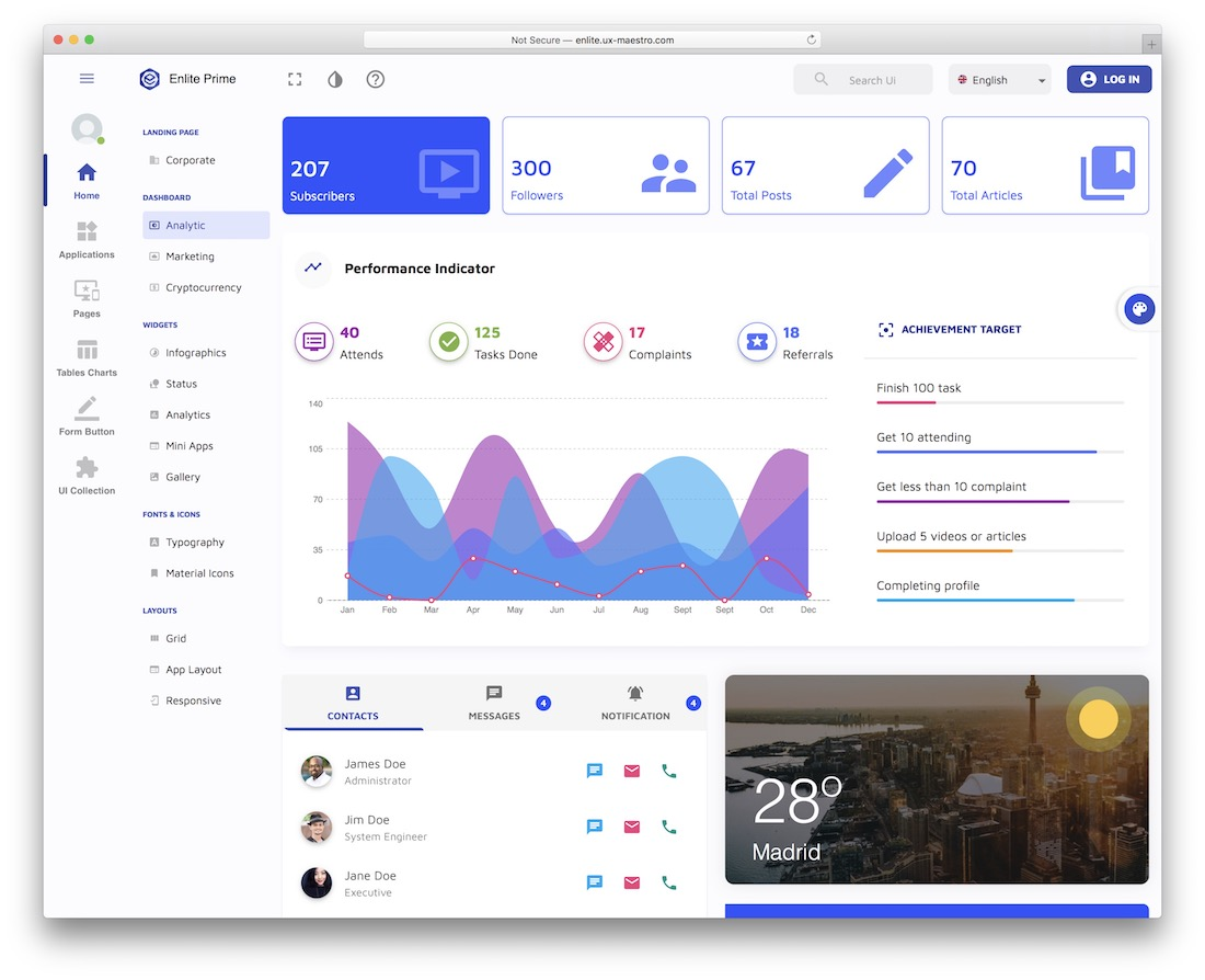 enlite prime react dashboard template