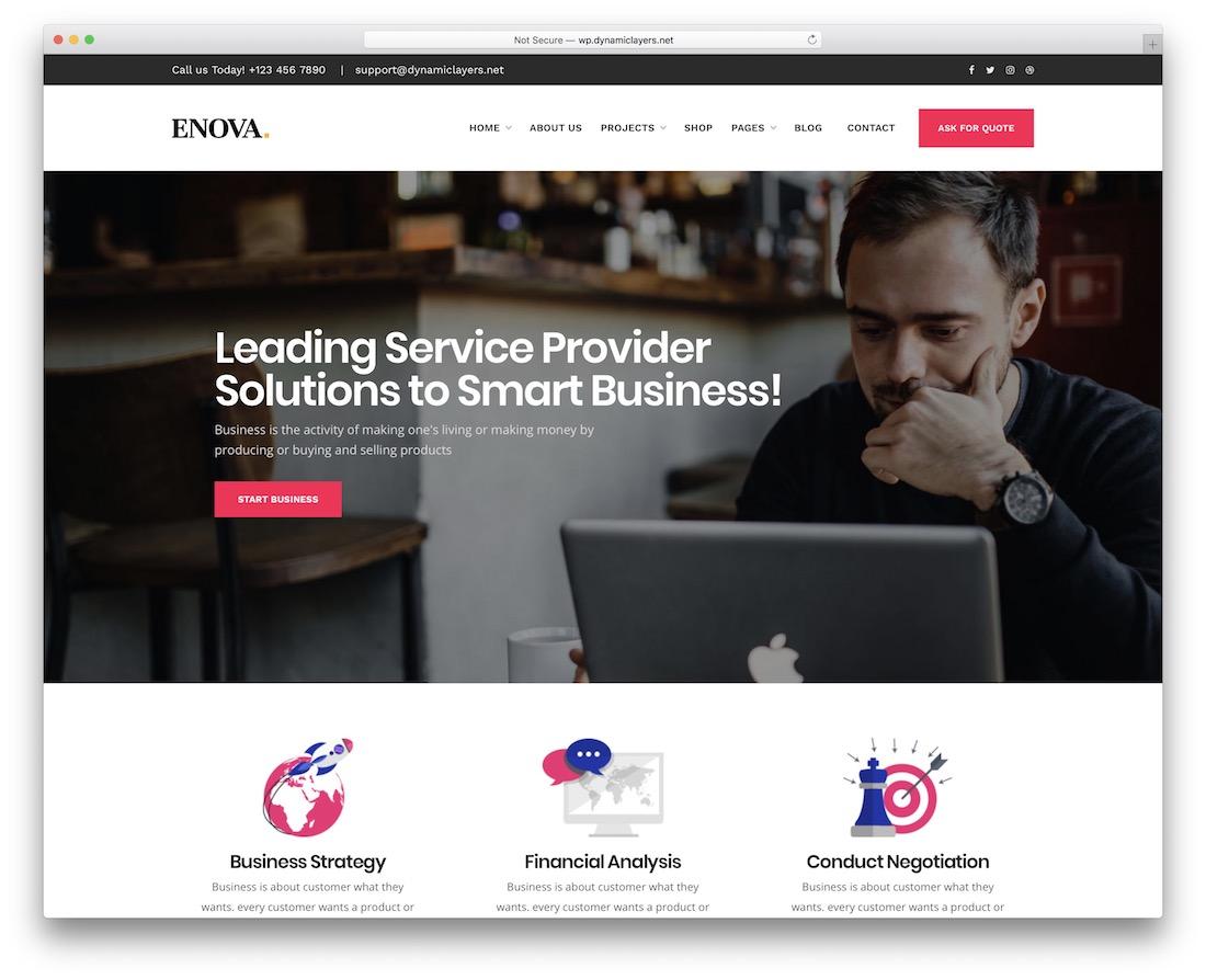 enova corporate small business wordpress theme