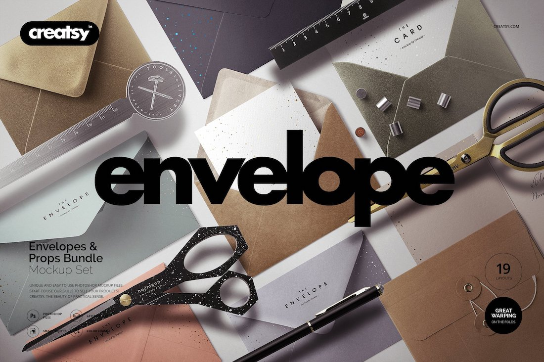 envelopes mockup set and props