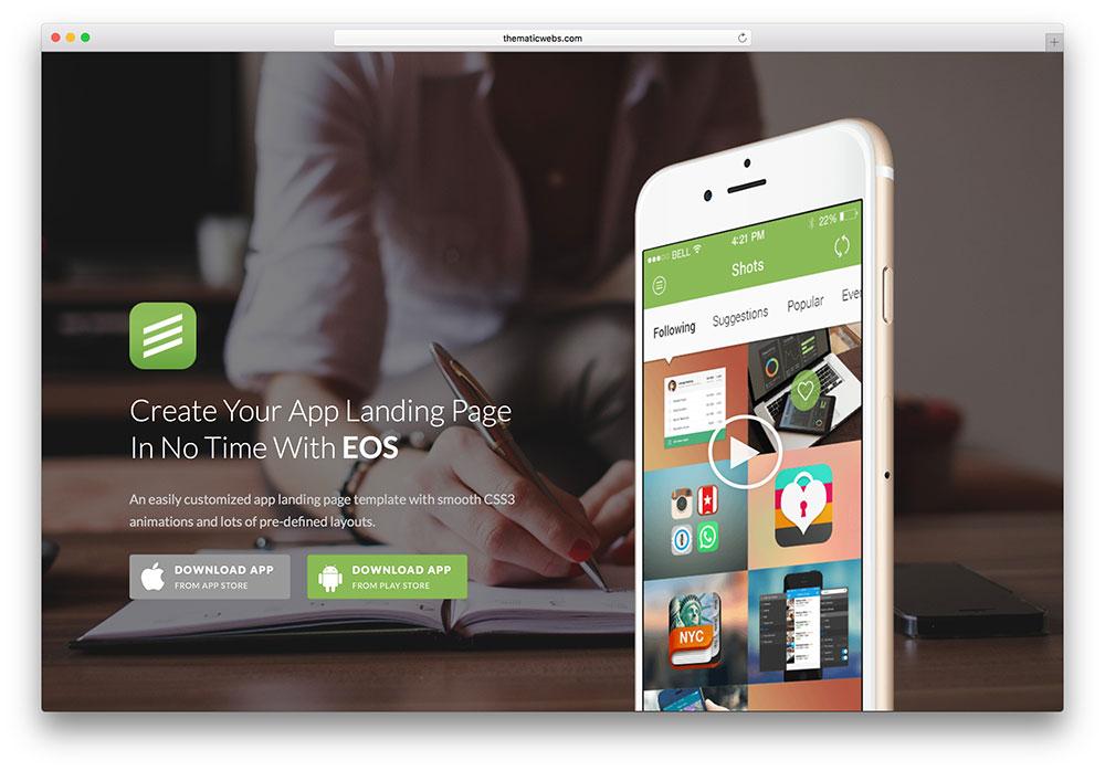 eos - stunning app landing page