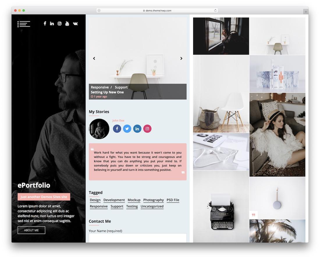 eportfolio free gallery wordpress theme