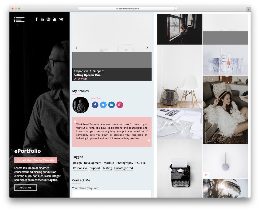 eportfolio free wordpress theme