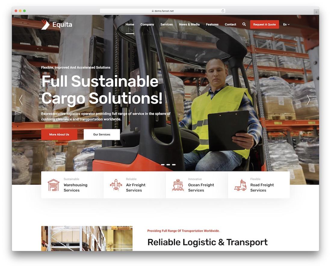 equita logistics wordpress theme