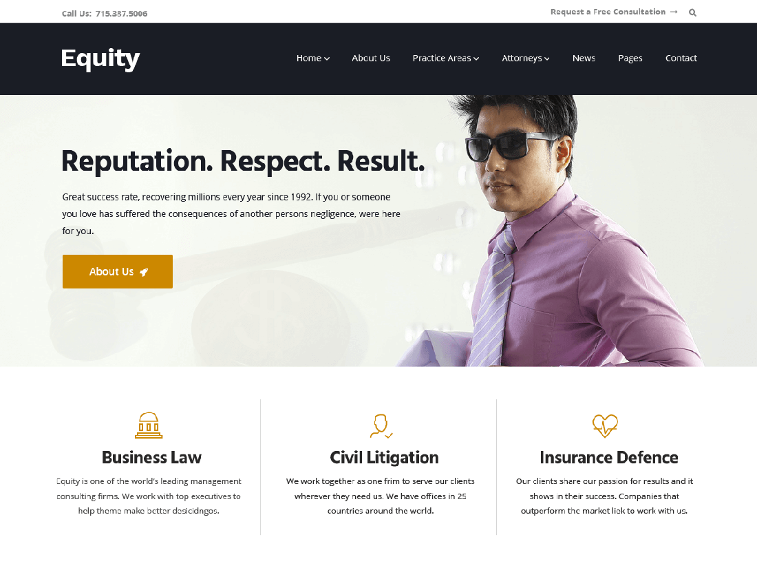 Equity WordPress Theme for Law Websites