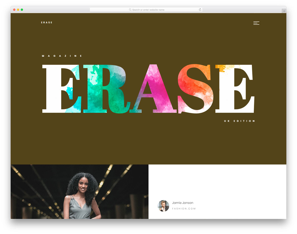 Erase - Free Fashion Magazine Website Template 2019