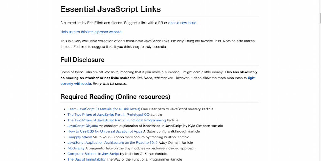 ericelliott essential javascript links Essential JavaScript website.