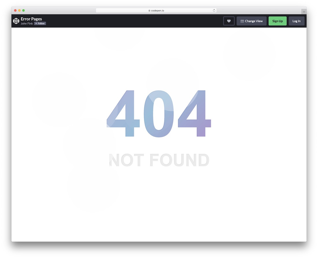 error page with animation