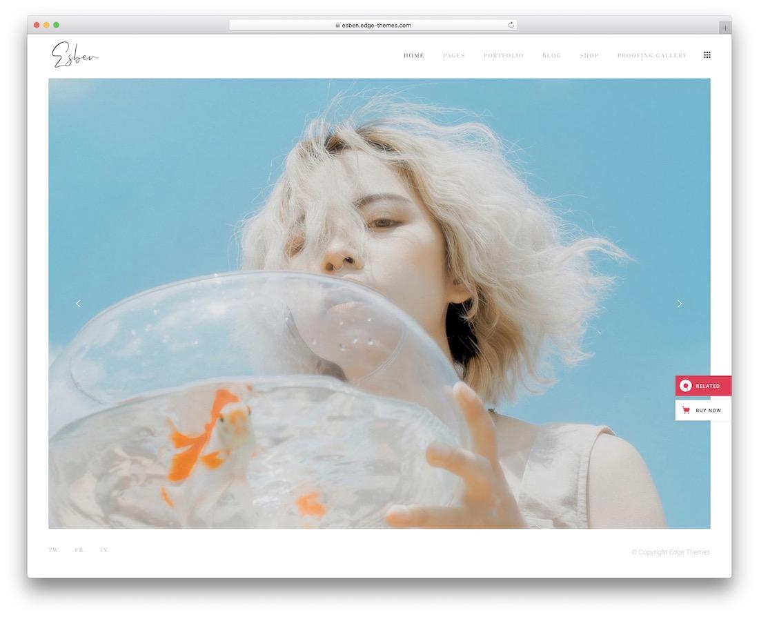 esben wordpress theme for photographers