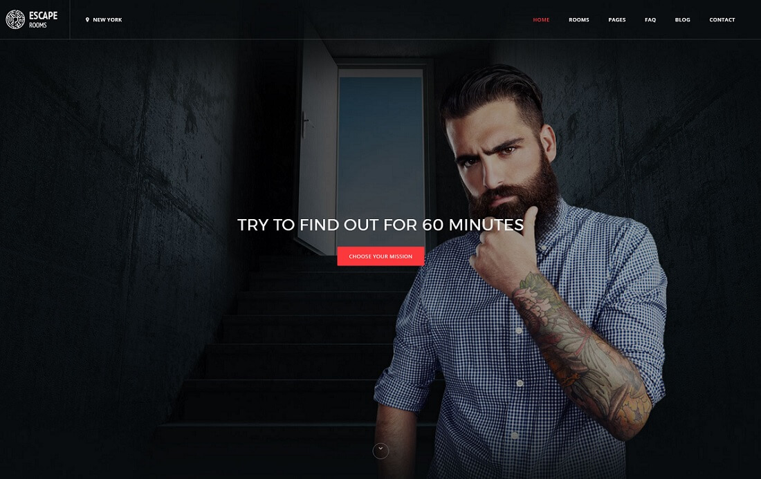 escape room gaming HTML website template