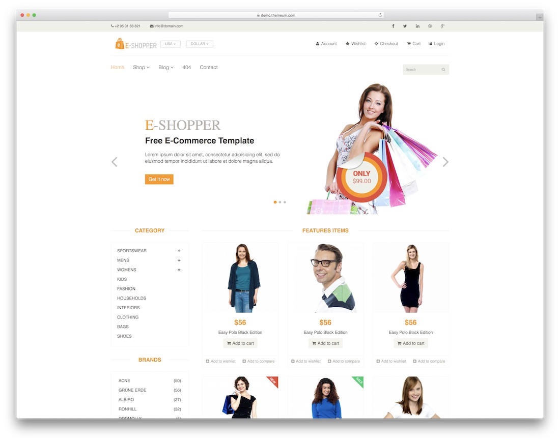 eshopper free bootstrap ecommerce website template