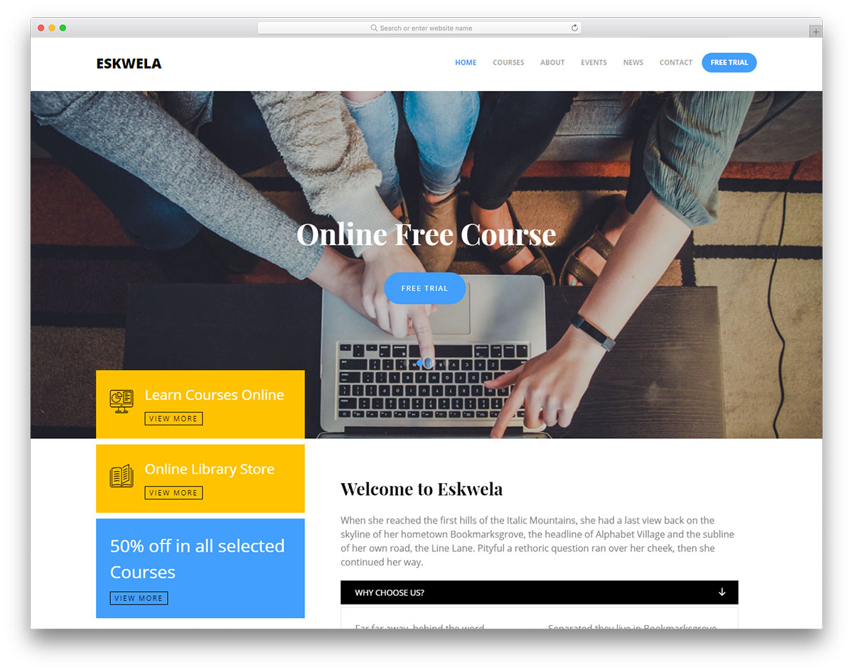 eskwela free online learning website template colorlib