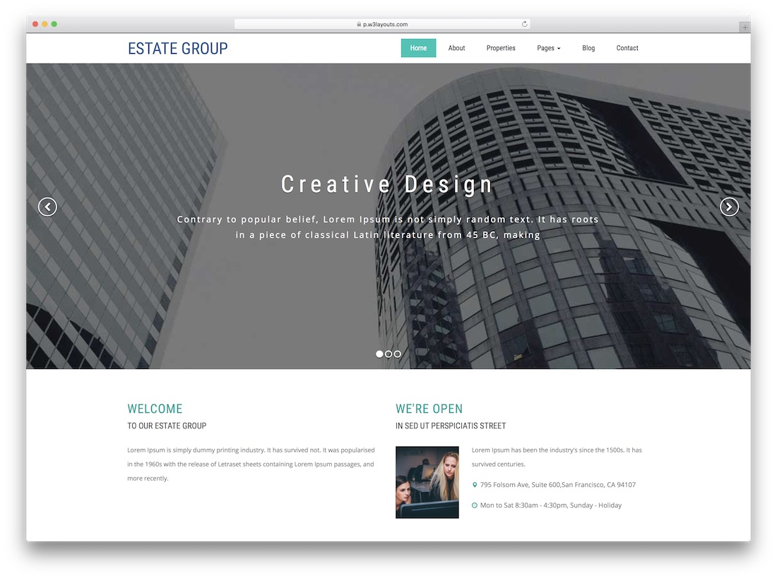 estate group directory website template