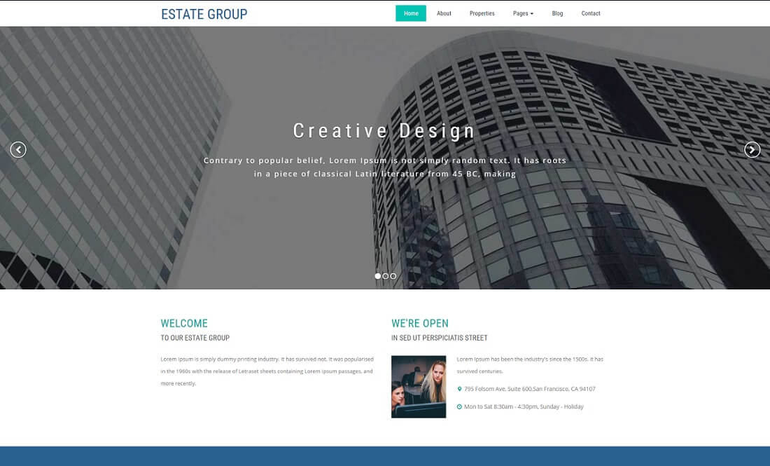 estate group free directory website template