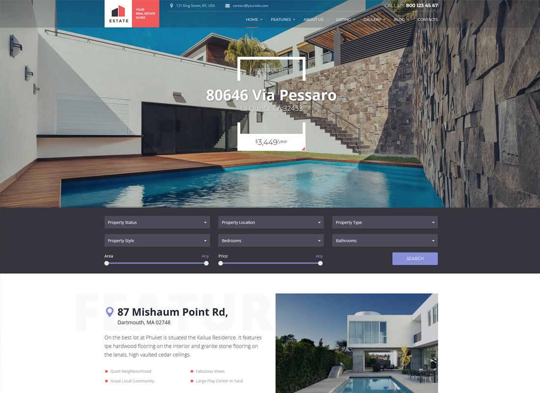 Estate   Property Sales & Rental WordPress Theme + RTL