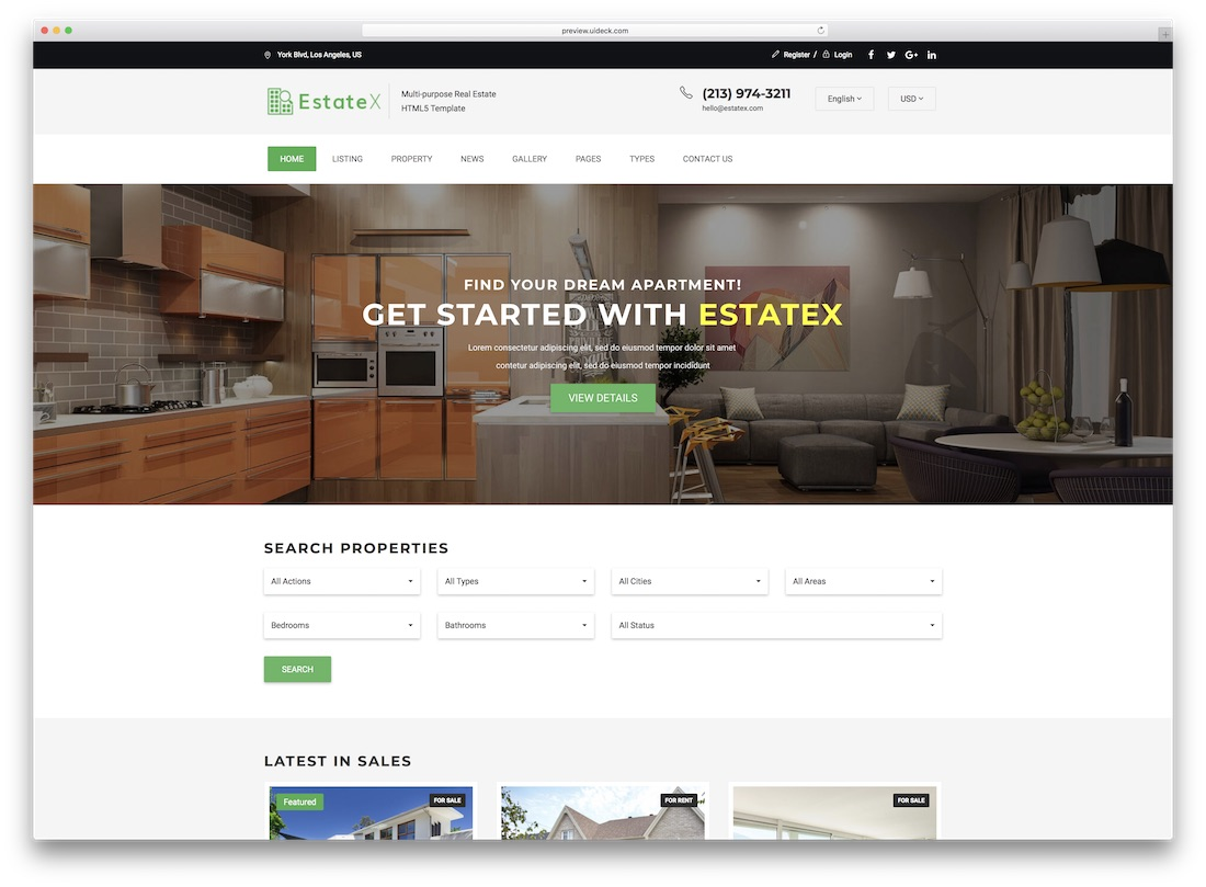 estatex real estate website template