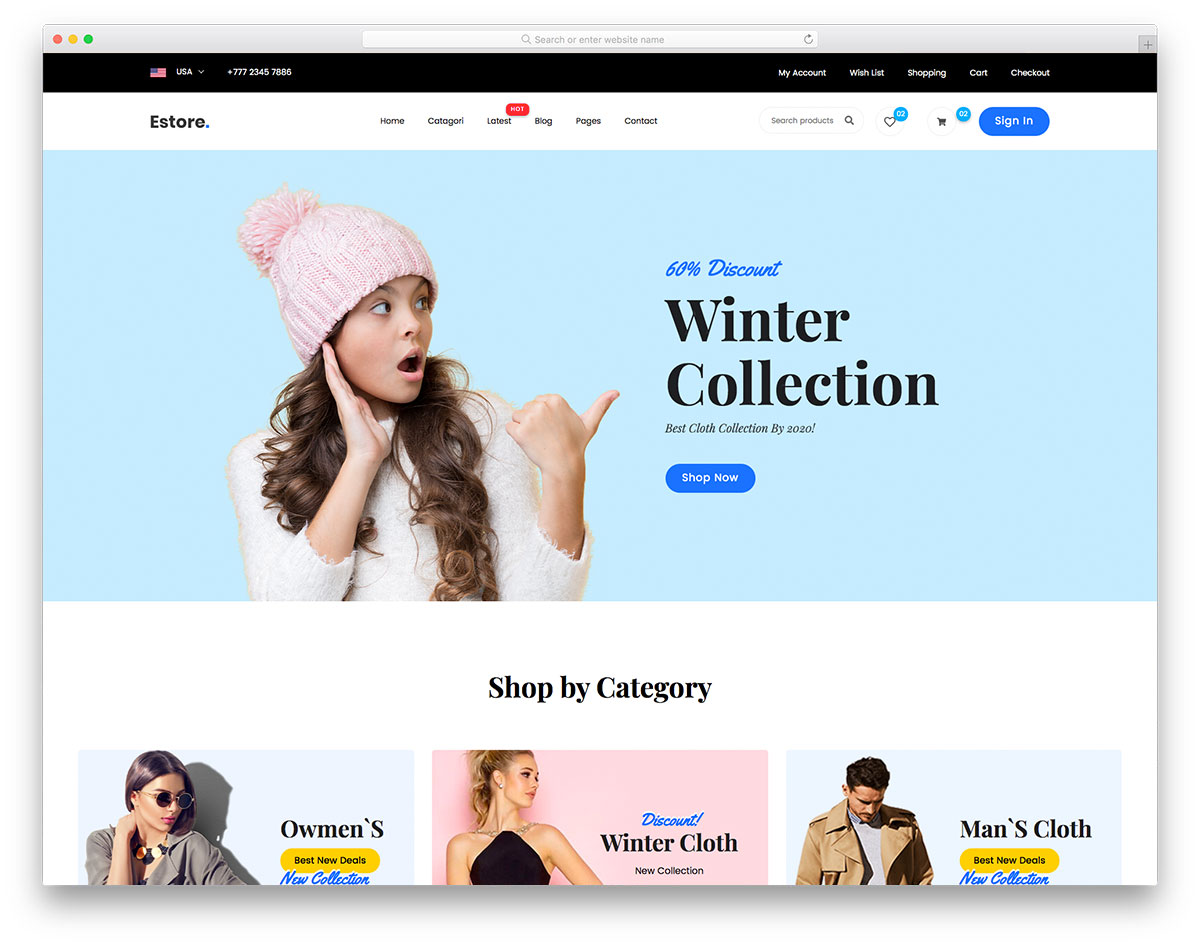 eStore Free Template