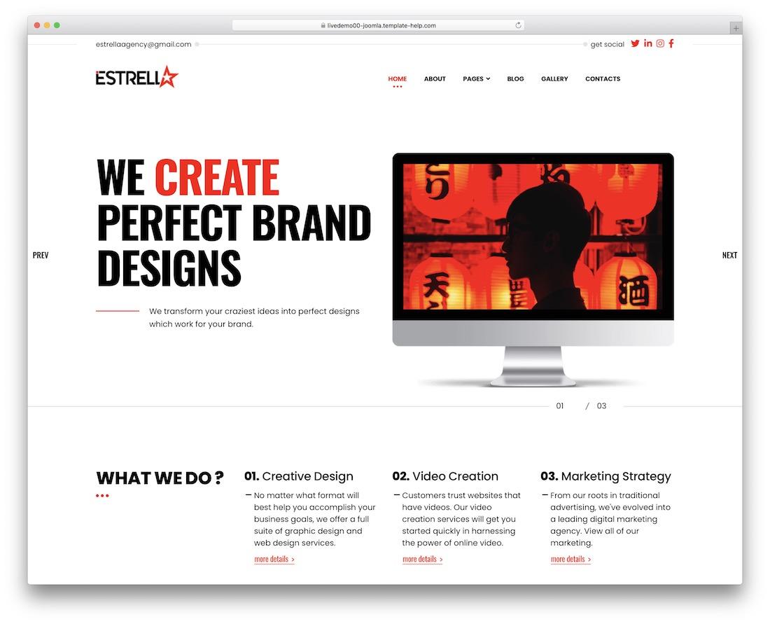 estrella joomla creative agency portfolio template
