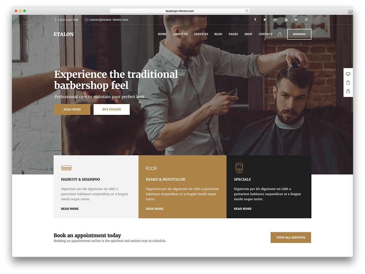 28 hair salon and barber shop wordpress themes 2019 colorlib. Black Bedroom Furniture Sets. Home Design Ideas