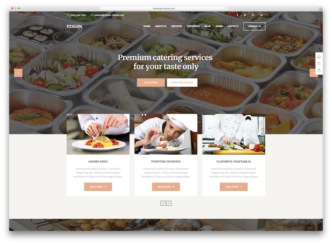 catering WordPress themes