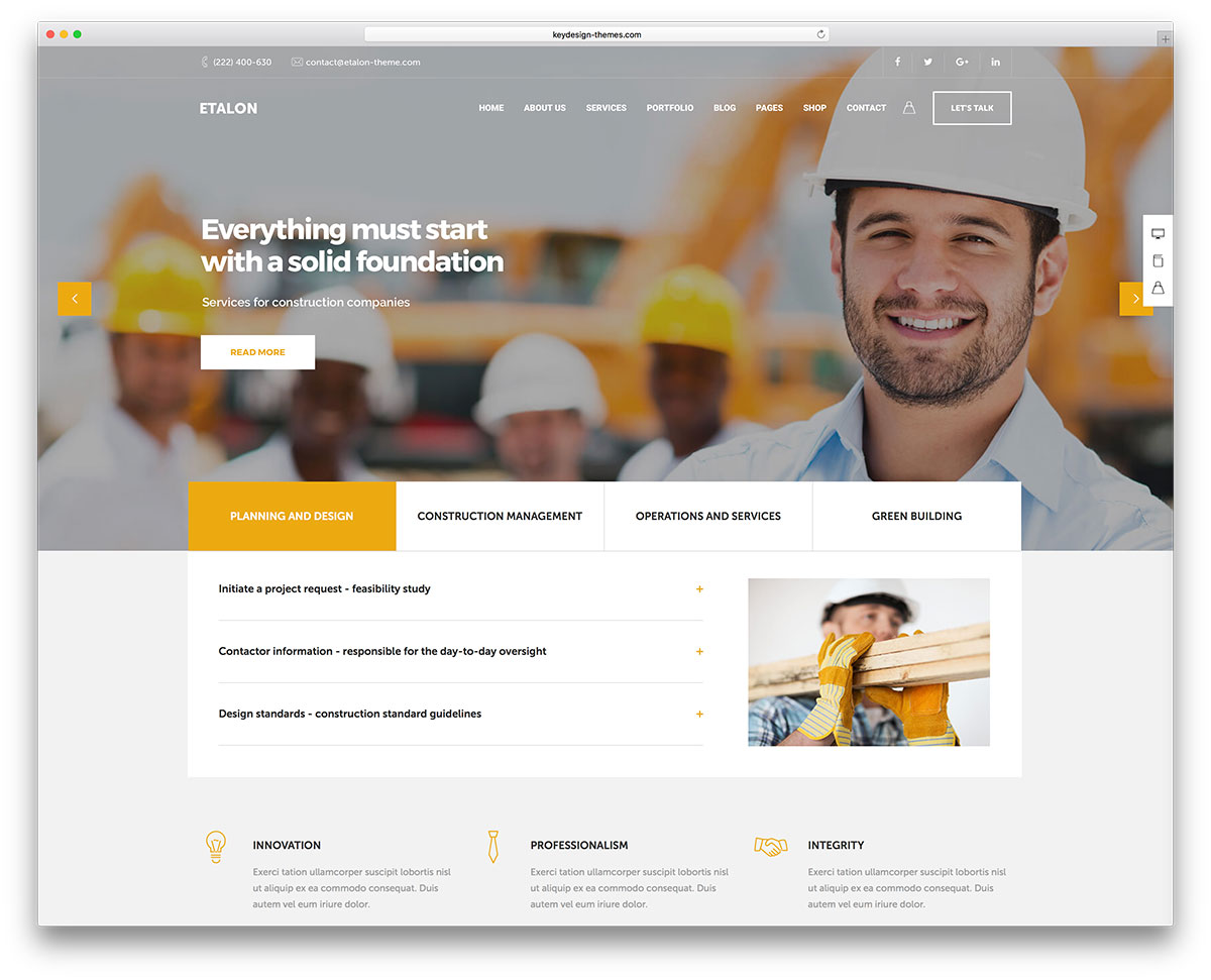Best Construction Company WordPress Themes Colorlib - Information website template
