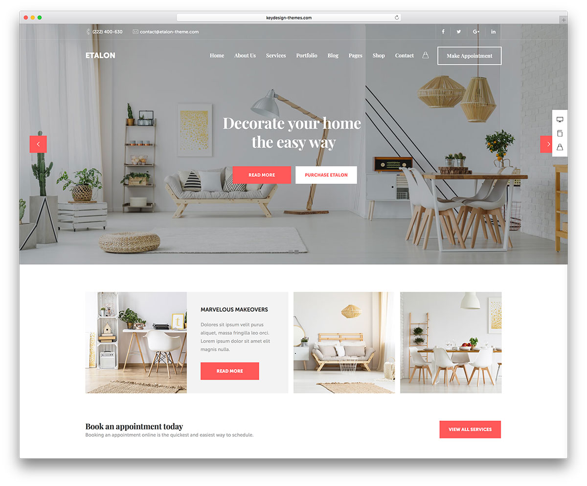 etalon is a multitalented wordpress theme ideal for creative entrepreneurs it has powerful customization options and tons of niche demos - Interior Design Pages