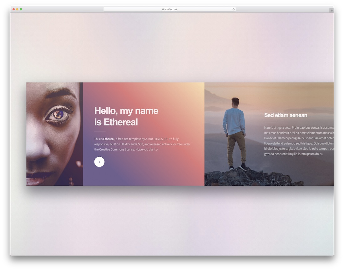 ethereal free html5 website template