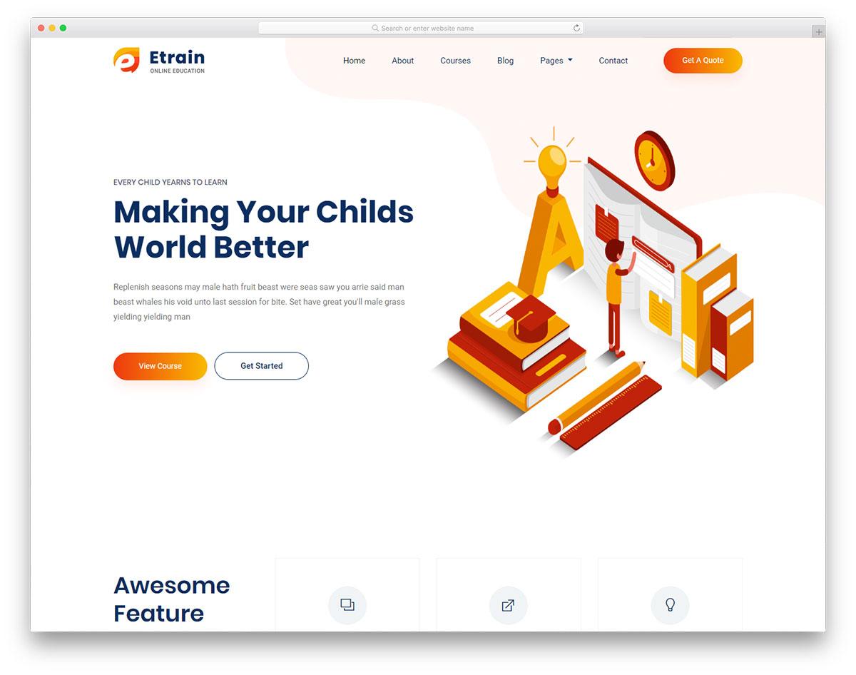 etrain free template