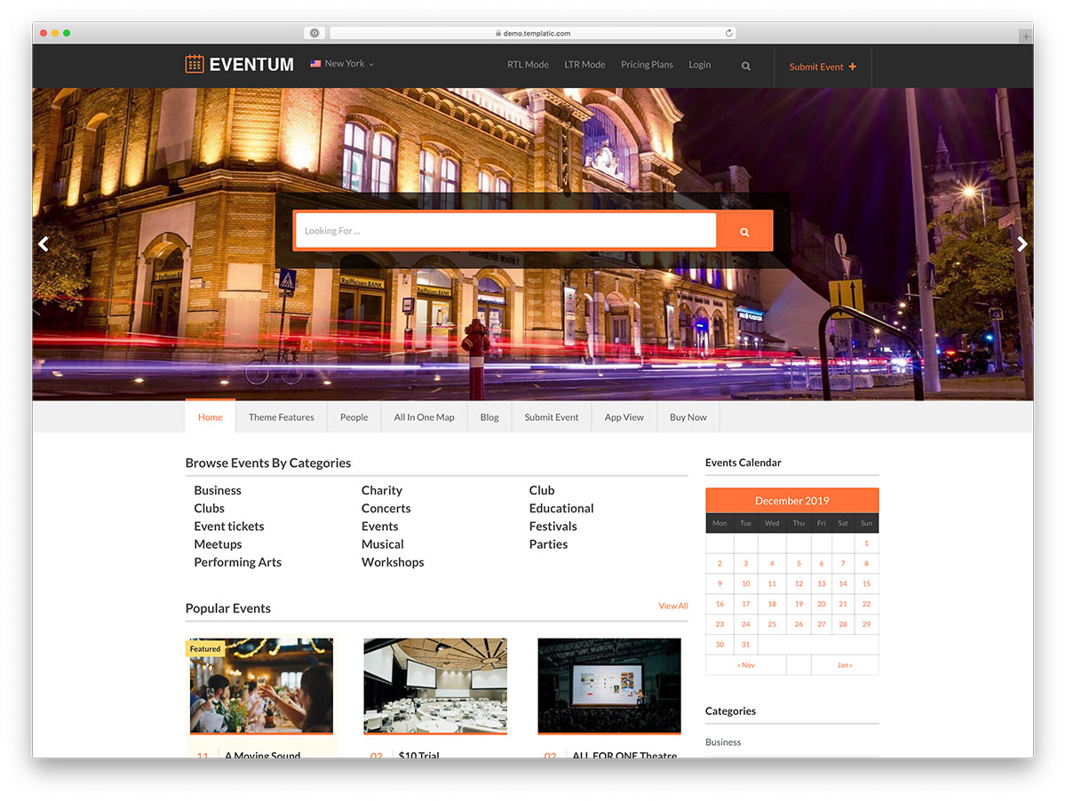 event directory WordPress theme