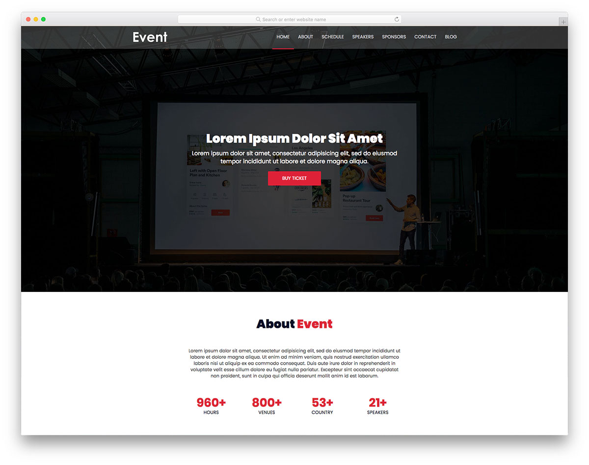 18 Most Promising Free Event Website Templates 2018 - Colorlib