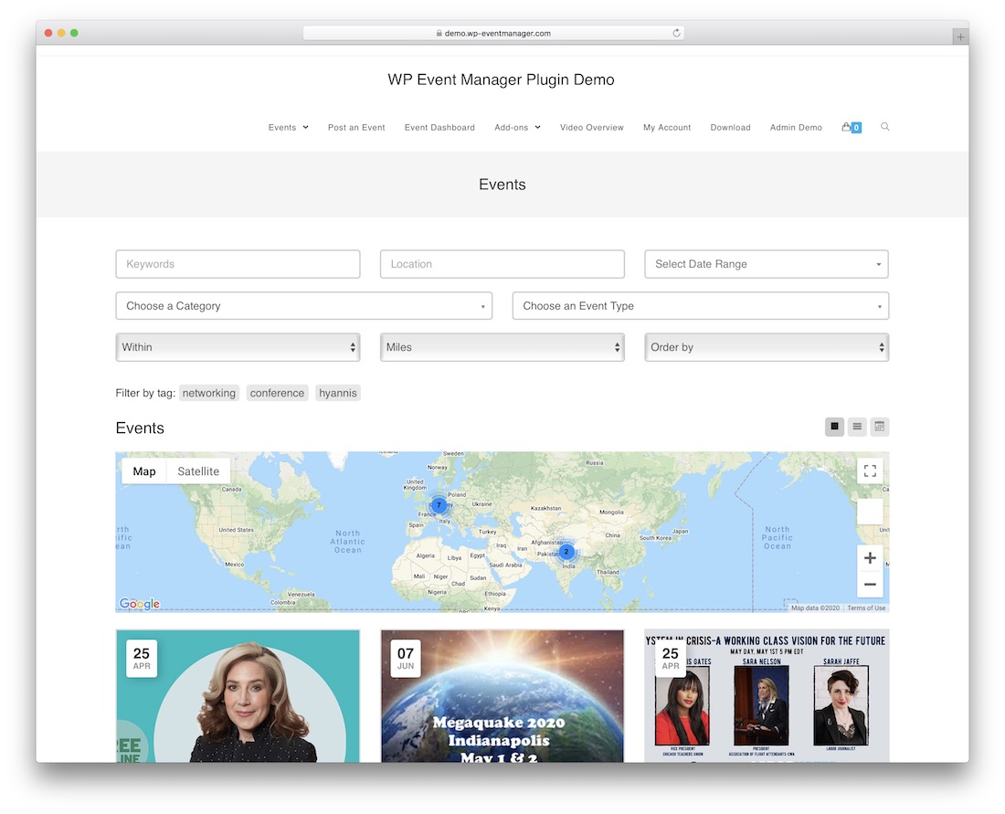 event listing free wordpress theme