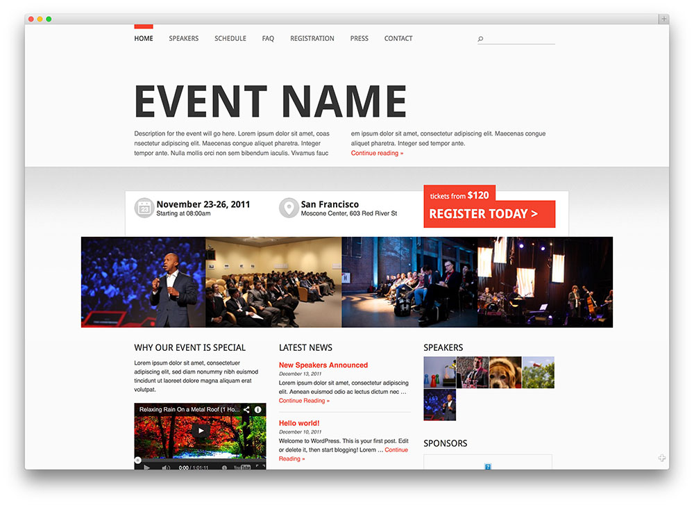 Event Manager WordPress theme