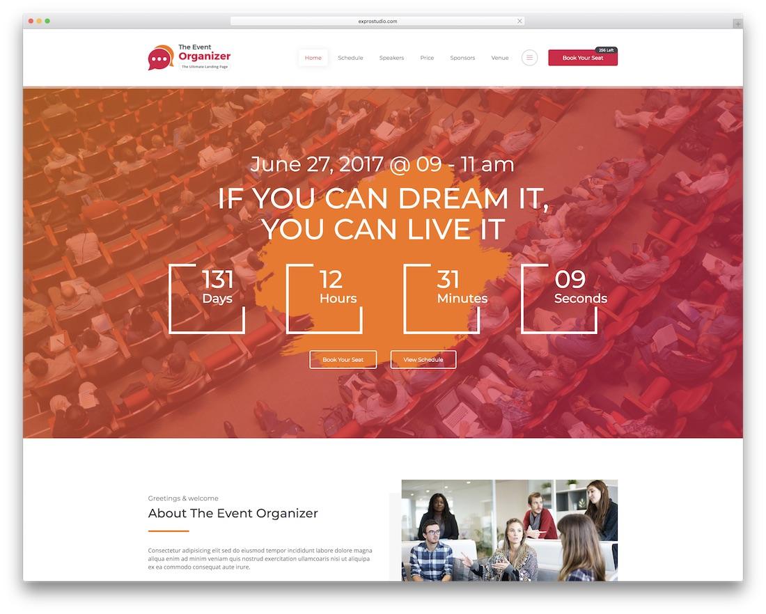 event organizer beautiful website template