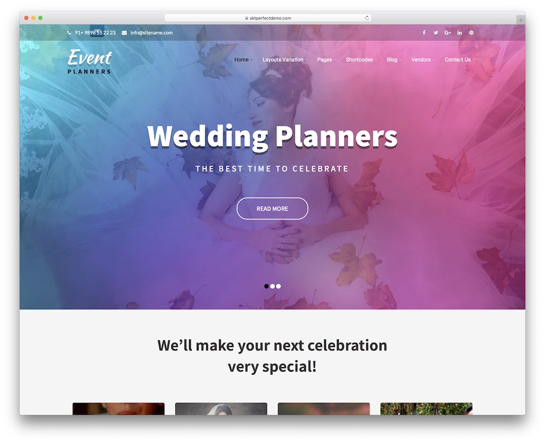 event planners free wordpress theme