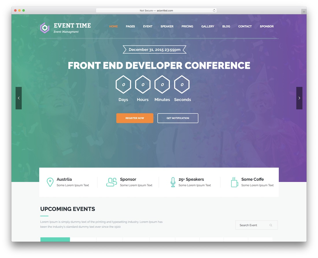 event time event planner wordpress theme