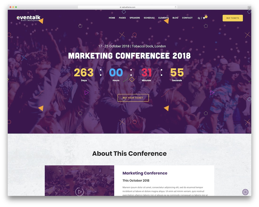 eventalk html5 wordpress theme