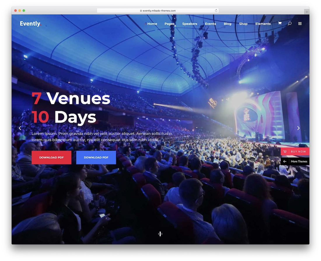 evently wordpress theme for conference and event