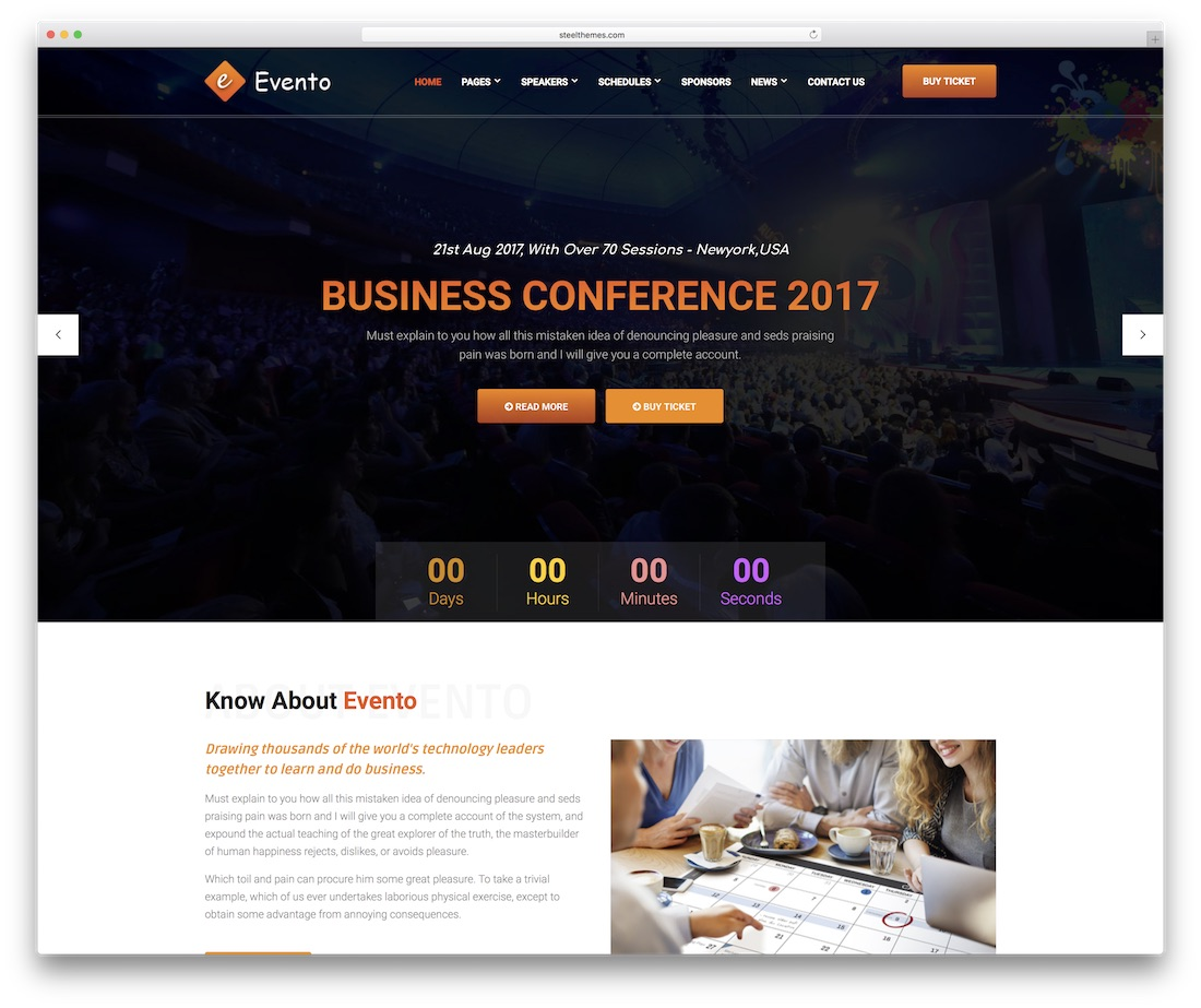evento website template