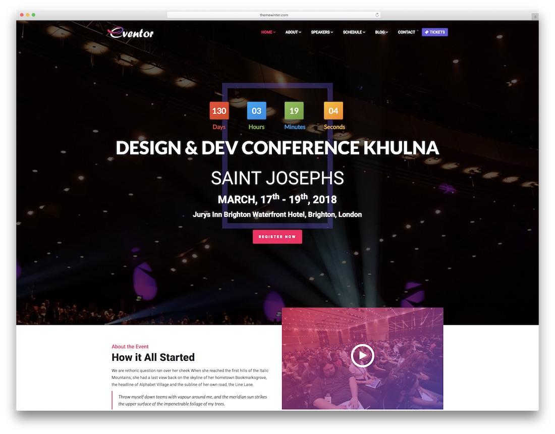 eventor video website template