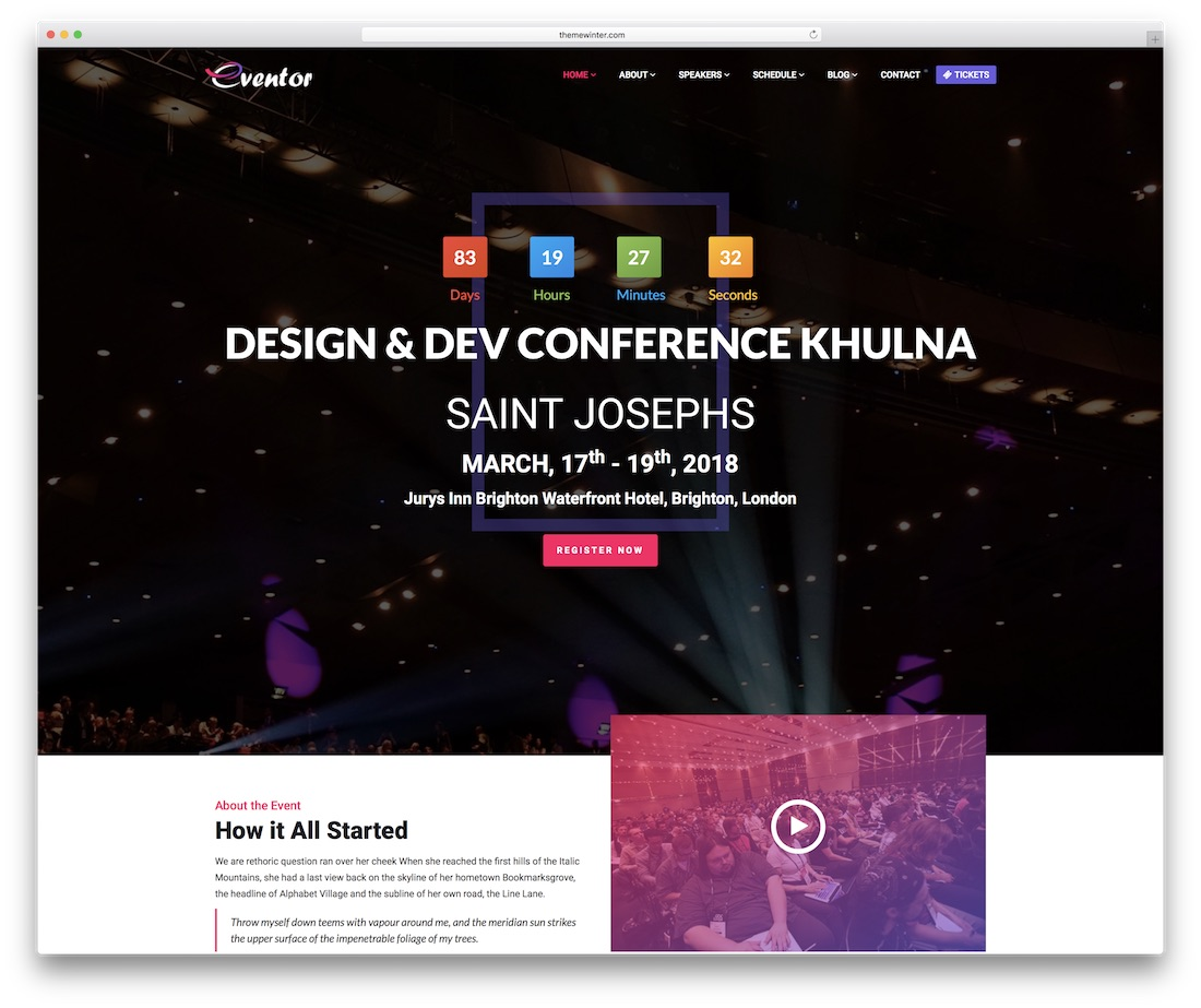 eventor website template
