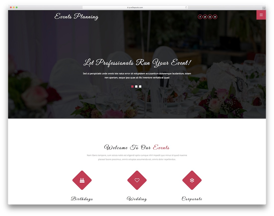 events planning free wedding website template