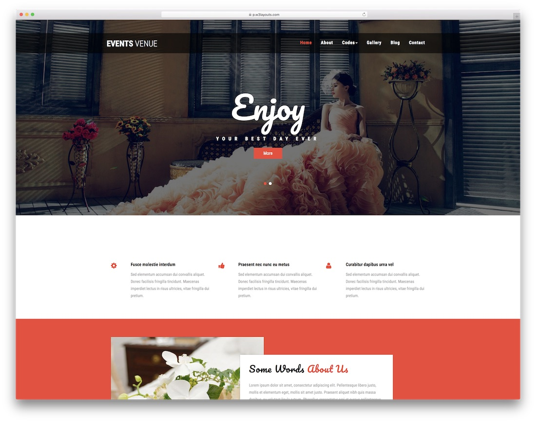 events venue free event web template