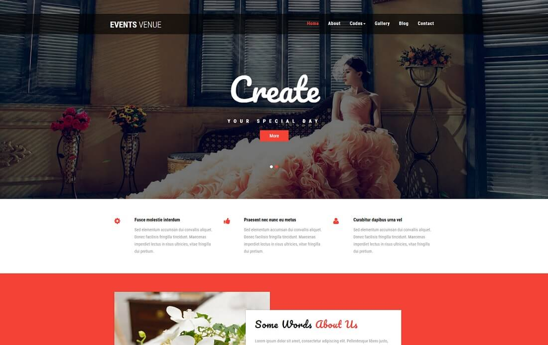 events venue free event website template
