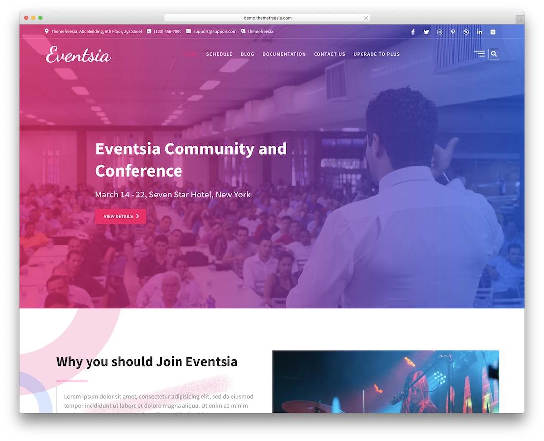 eventsia free wordpress theme