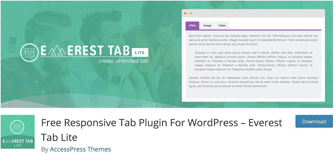 everest tab lite wordpress plugin