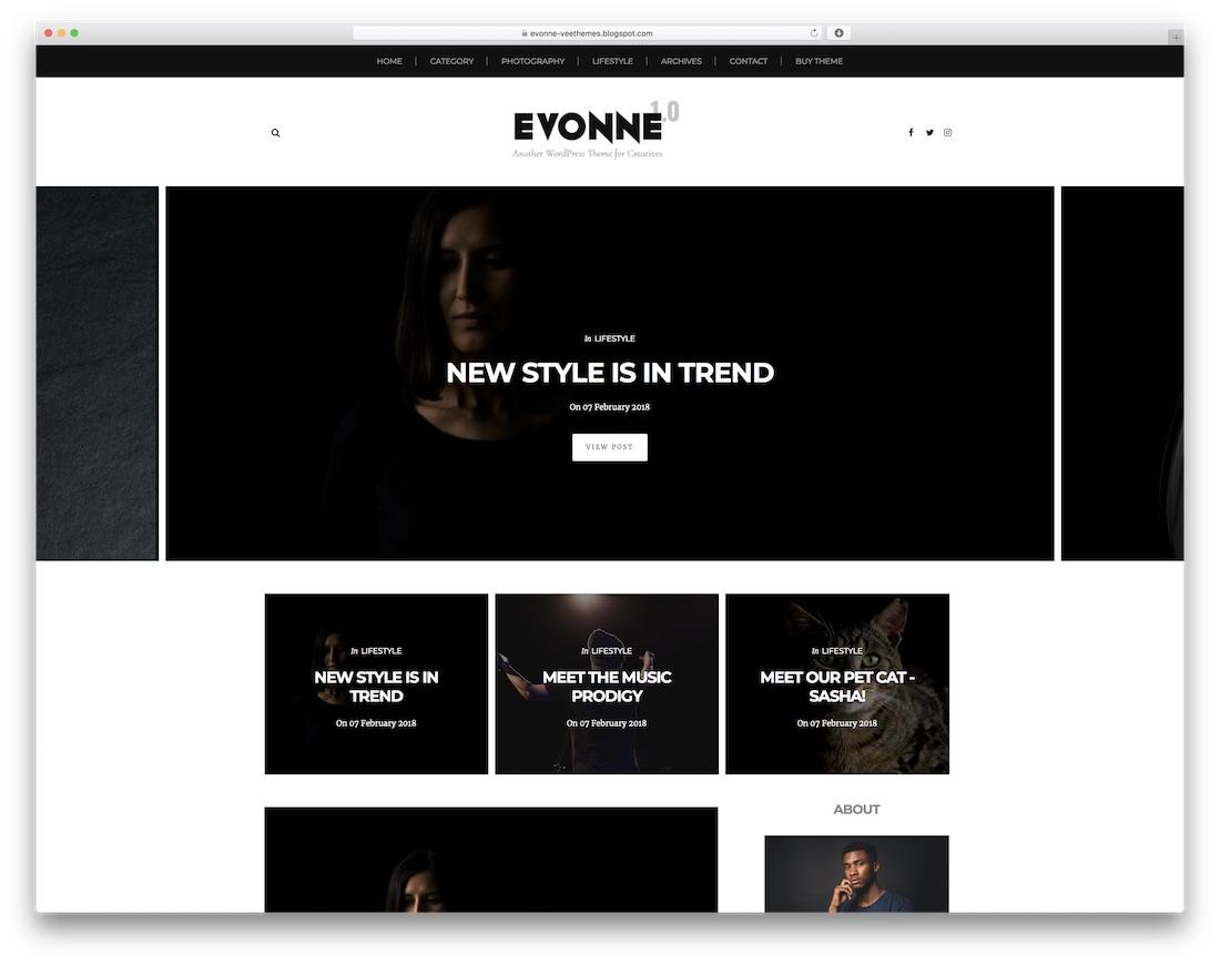 evonne free blogger template